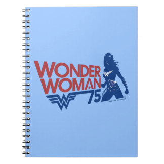 Wonder Woman 75th Anniversary Red & Blue Logo Notebooks