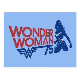 Wonder Woman 75th Anniversary Red & Blue Logo Postcard