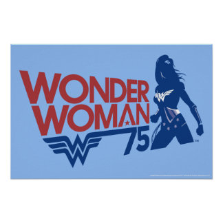 Wonder Woman 75th Anniversary Red & Blue Logo Poster