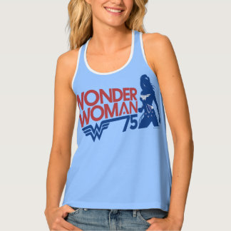 Wonder Woman 75th Anniversary Red & Blue Logo Tank Top