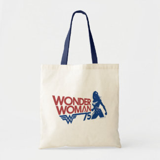 Wonder Woman 75th Anniversary Red & Blue Logo Tote Bag