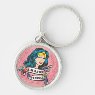 Wonder Woman Amazon Princess Silver-Colored Round Key Ring