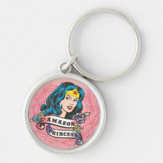 Wonder Woman Amazon Princess Silver-Colored Round Key Ring