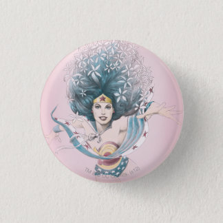 Wonder Woman and Flowers 3 Cm Round Badge