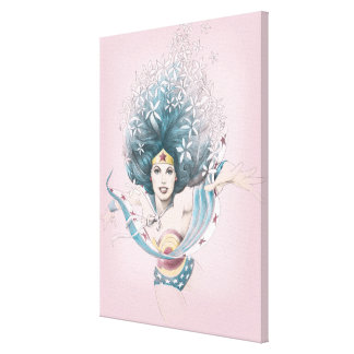 Wonder Woman and Flowers Canvas Print