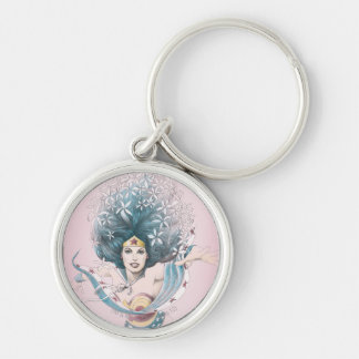 Wonder Woman and Flowers Key Ring