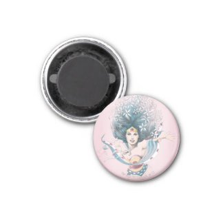 Wonder Woman and Flowers 3 Cm Round Magnet