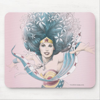 Wonder Woman and Flowers Mouse Pad
