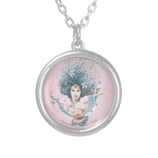 Wonder Woman and Flowers Silver Plated Necklace