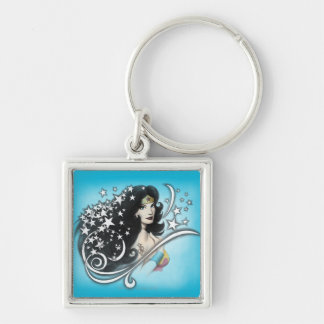 Wonder Woman and Stars Silver-Colored Square Key Ring