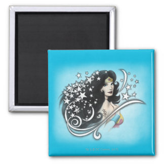 Wonder Woman and Stars Square Magnet