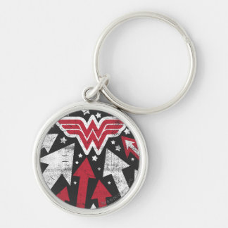Wonder Woman Arrows Silver-Colored Round Key Ring
