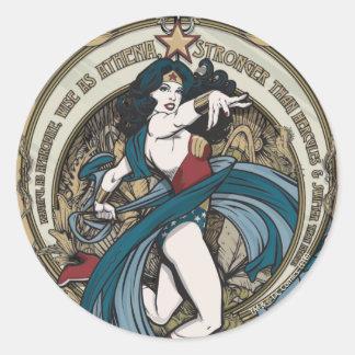 Wonder Woman Art Nouveau Panel Classic Round Sticker