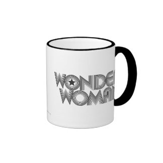 Wonder Woman B&W Logo 3 Ringer Mug
