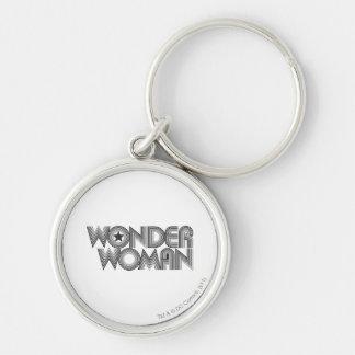 Wonder Woman B&W Logo 3 Silver-Colored Round Key Ring