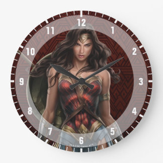 Wonder Woman Battle-Ready Comic Art Large Clock
