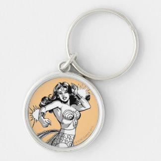 Wonder Woman Black & White Defender Silver-Colored Round Key Ring