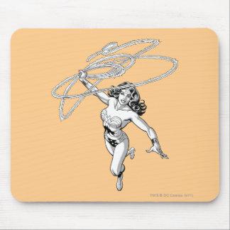 Wonder Woman Black & White Twirl Mouse Pad