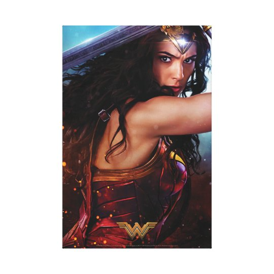 Wonder Woman Blocking With Sword Canvas Print