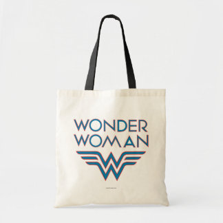 Wonder Woman Blue and Red Retro Logo