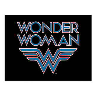 Wonder Woman Blue and Red Retro Logo Postcard