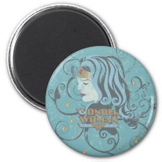 Wonder Woman Blue Background 6 Cm Round Magnet