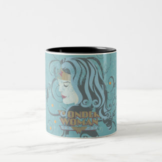 Wonder Woman Blue Background Two-Tone Coffee Mug