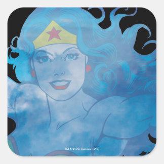 Wonder Woman Blue Sky Silhouette Square Sticker