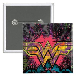 Wonder Woman Brick Wall Collage 15 Cm Square Badge