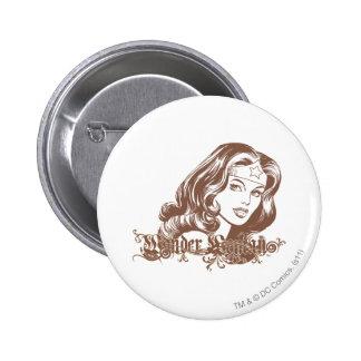 Wonder Woman Brown 6 Cm Round Badge
