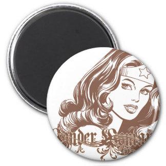 Wonder Woman Brown 6 Cm Round Magnet