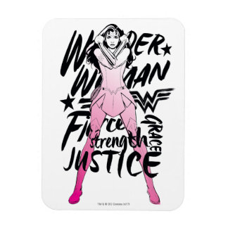 Wonder Woman Brush Typography Art Magnet