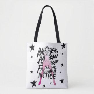 Wonder Woman Brush Typography Art Tote Bag