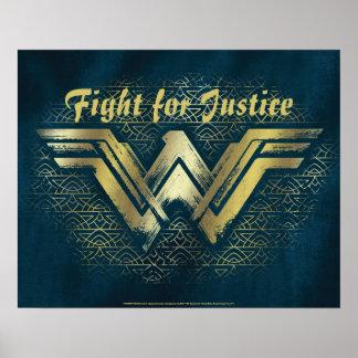 Wonder Woman Brushed Gold Symbol Poster