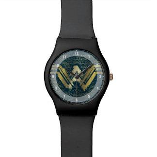 Wonder Woman Brushed Gold Symbol Watch