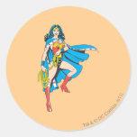 Wonder Woman Cape Round Sticker