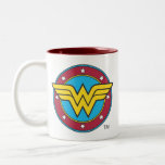Wonder Woman Circle & Stars Logo Two-Tone Coffee Mug