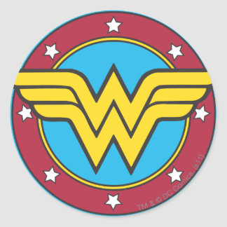 Wonder Woman | Circle & Stars Logo Round Sticker