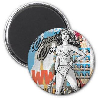 Wonder Woman Collage 2 6 Cm Round Magnet