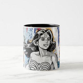 Wonder Woman Collage 4 Two-Tone Mug