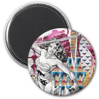 Wonder Woman Collage 5 6 Cm Round Magnet