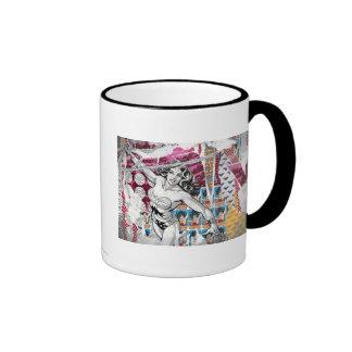 Wonder Woman Collage 5 Ringer Mug