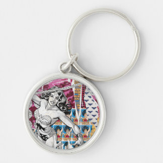 Wonder Woman Collage 5 Silver-Colored Round Key Ring