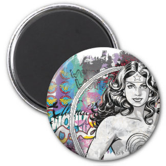 Wonder Woman Collage 6 6 Cm Round Magnet
