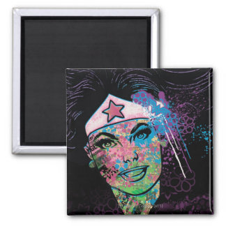 Wonder Woman Colorful Collage Square Magnet
