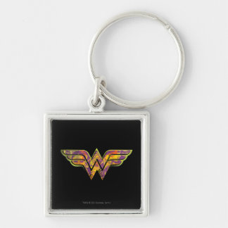Wonder Woman Colorful Logo Silver-Colored Square Key Ring