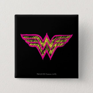 Wonder Woman Colorful Pink and Yellow Logo 15 Cm Square Badge
