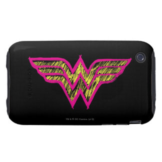 Wonder Woman Colorful Pink and Yellow Logo Tough iPhone 3 Covers