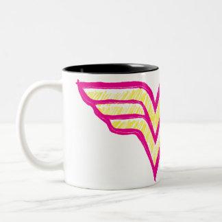 Wonder Woman Colorful Pink and Yellow Logo Two-Tone Mug