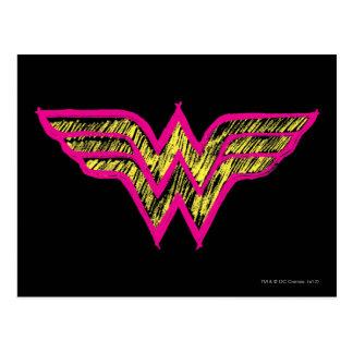 Wonder Woman Colorful Pink and Yellow Logo Postcard